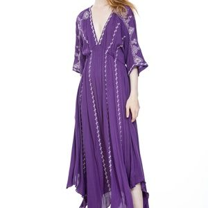 EMBROIDERED LONG PURPLE MAXI DRESS